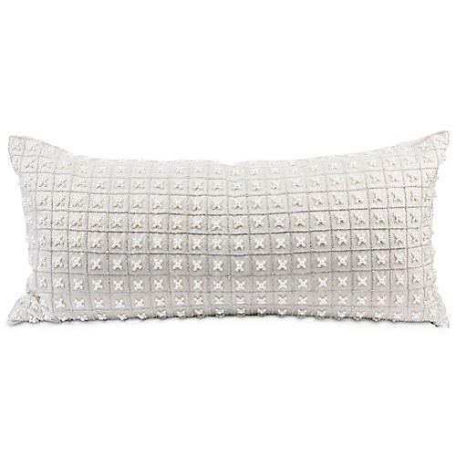 Chakor 14x30 Lumbar Pillow, White Linen
