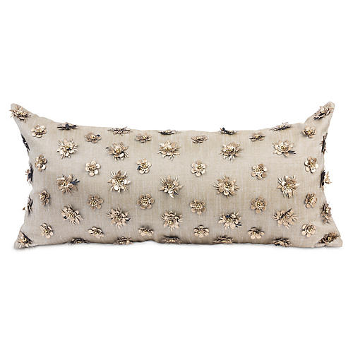Kaliyann 14x30 Lumbar Pillow, Blush Linen