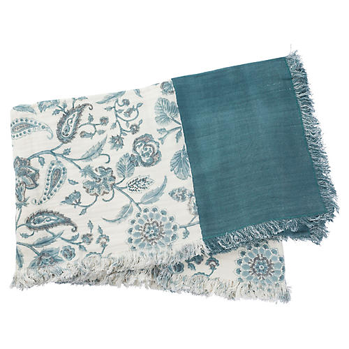 Catia Cotton Throw, Teal