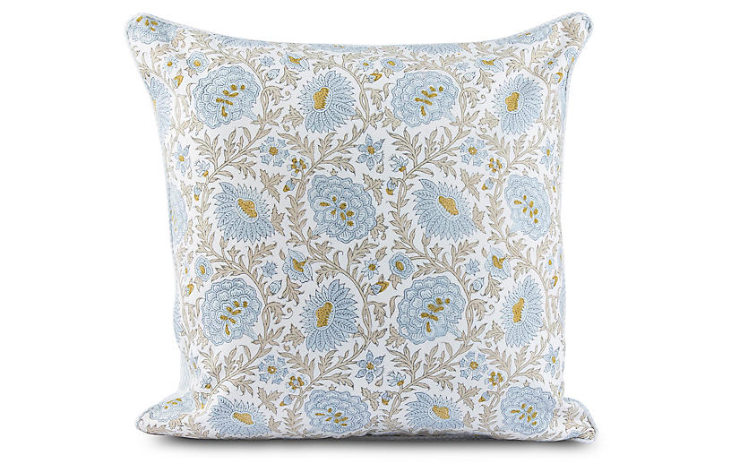 Babel 20x20 Pillow, Light Blue/Straw