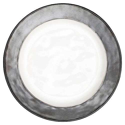 Emerson Dinner Plate, White/Pewter
