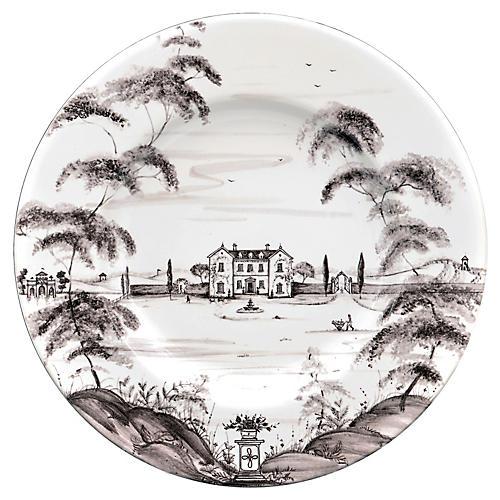 Country Estate Dinner Plate, White/Black
