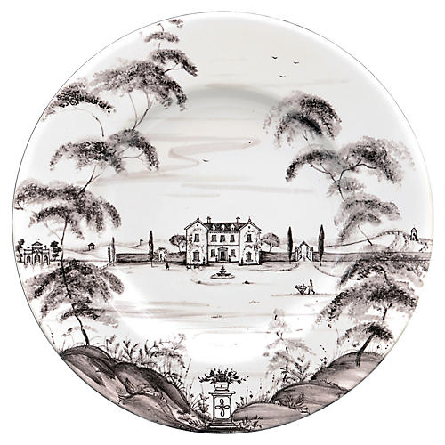 Country Estate Dinner Plate, White/Black