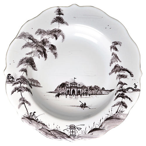 Country Estate Pasta Bowl, White/Black