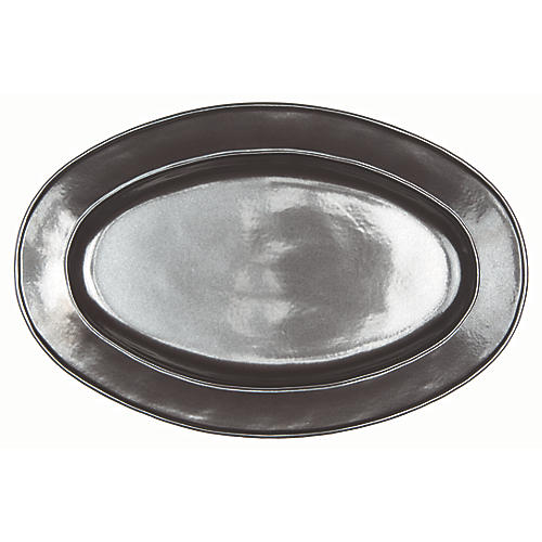 Stoneware Oval Serving Platter, Pewter