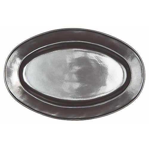 Stoneware Oval Serving Platter, Pewter