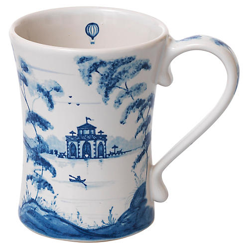 Country Estate Coffee Cup, White/Blue