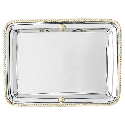 Periton Serving Tray, Silver/Brass