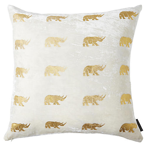 Arusha 22x22 Pillow, Ivory/Gold