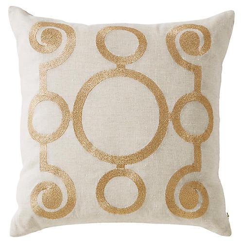 Adelphi 20x20 Pillow, Gold/Ivory Linen
