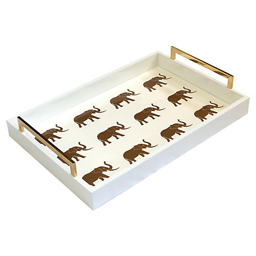 """20"""" Meru Rectangular Elephant Tray, Ivory/Gold"""