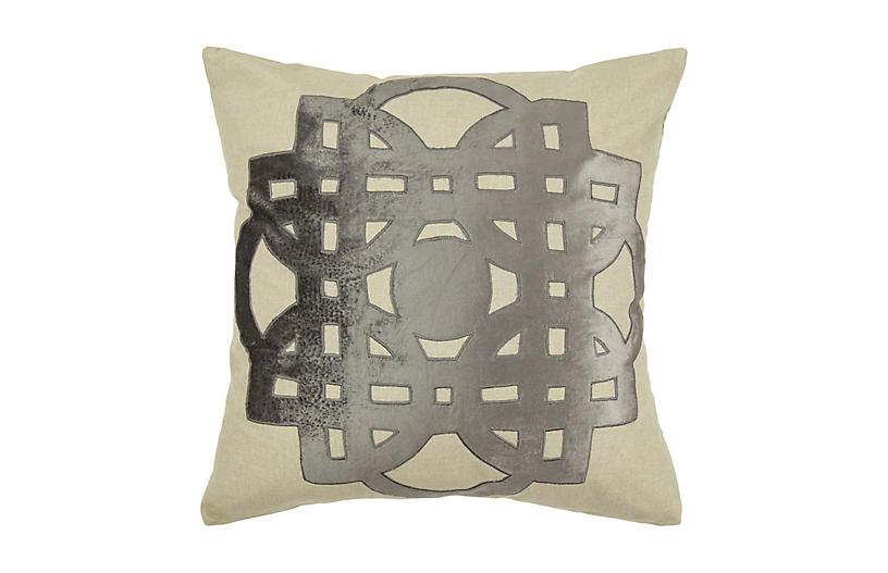 Patchwork 22x22 Pillow, Gray