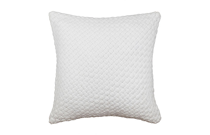 Knitted 20x20 Pillow, White