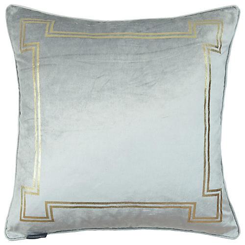 Aria 24x24 Pillow, Light Gray Velvet