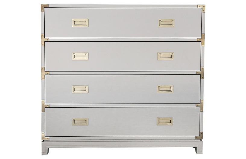 Carlyle 4-Drawer Campaign Dresser, Gray