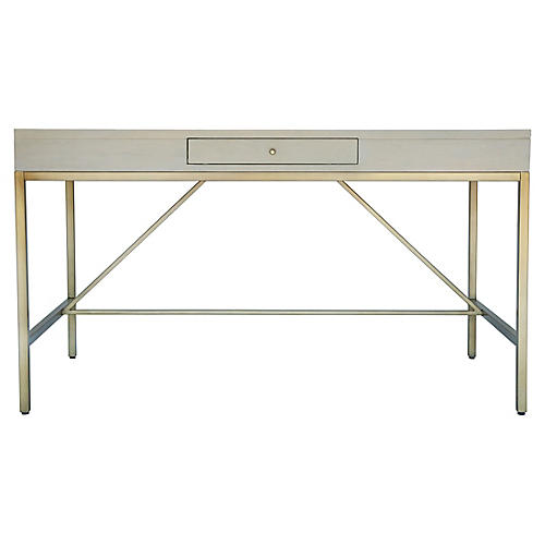 Carlyle Writing Desk, Gray/Brass