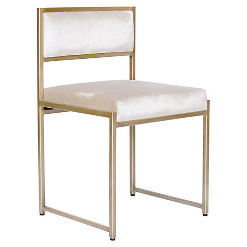 Carlyle Side Chair, Ivory Velvet