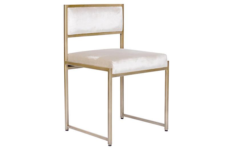 Carlyle Side Chair, Ivory Velvet