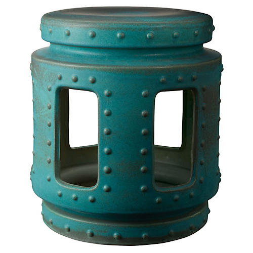 Throne Stool, Turquoise Copper Patina