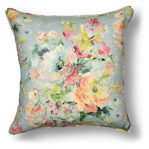 Watercolor Floral Pillow, Light Blue Linen
