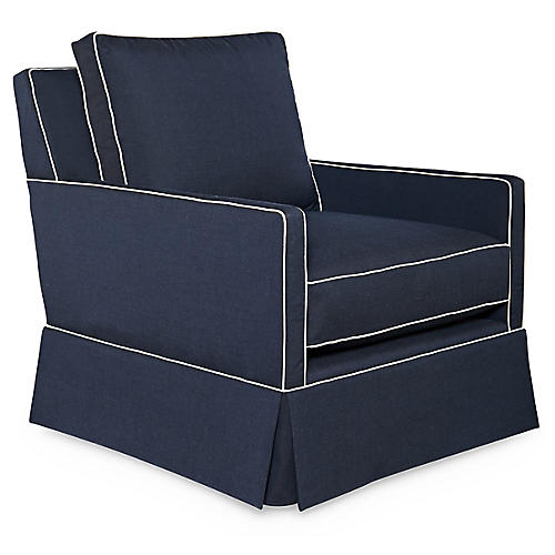 Auburn Club Chair, Indigo Sunbrella