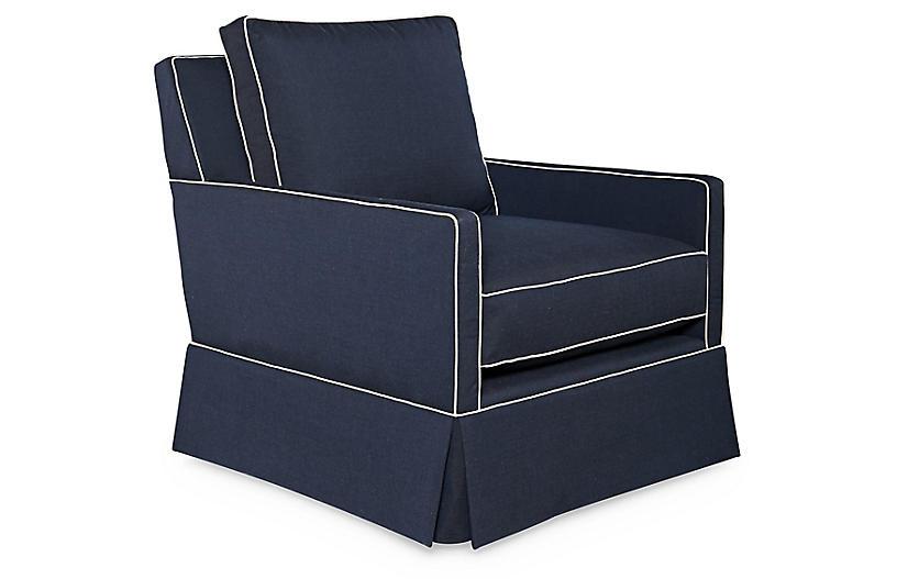 Auburn Club Chair, Indigo Sunbrella