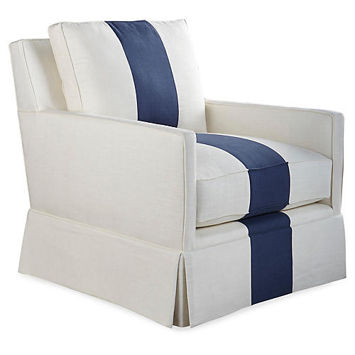 Auburn Club Chair, Indigo Stripe