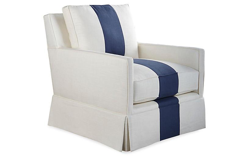 Auburn Club Chair, Indigo Stripe