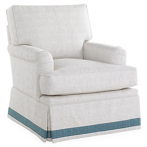 Winston Club Chair, Ivory/Blue