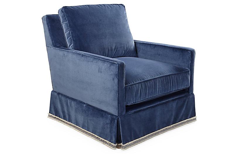 Auburn Club Chair, Mariner Velvet