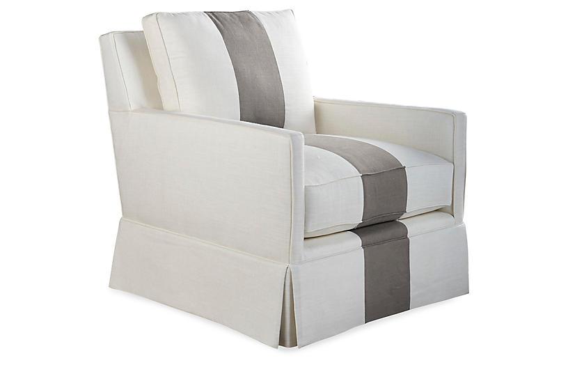Auburn Club Chair, Gray Stripe