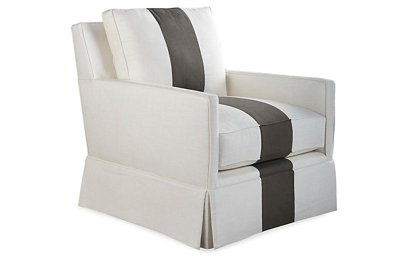 Auburn Club Chair, Charcoal Stripe
