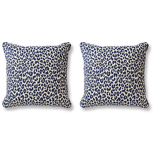 S/2 Shira Pillows, Leopard Indigo