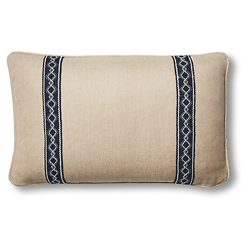 Colby 12x20 Lumbar Pillow, Flax/Navy