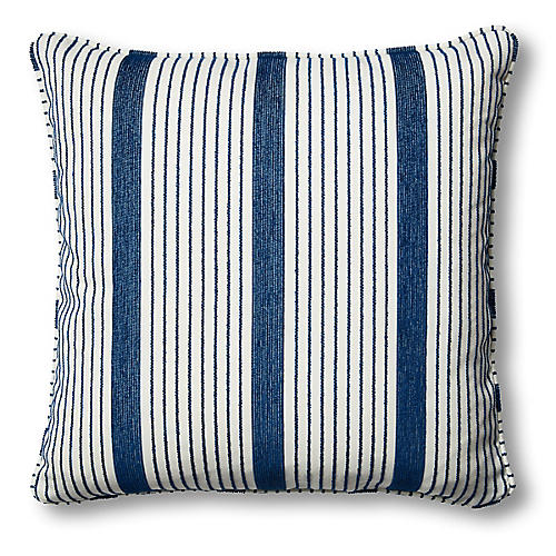 Bradley 26x26 Floor Pillow, Indigo/White