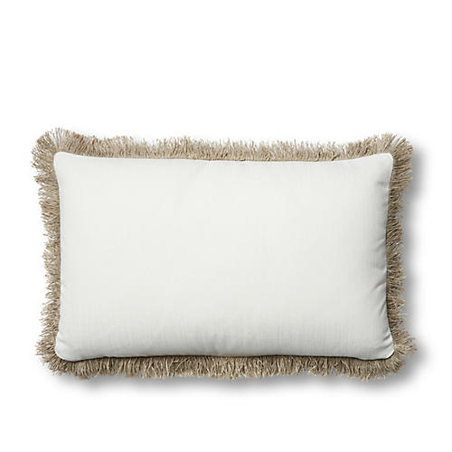 Suzette 12x20 Lumbar Pillow, White Sunbrella