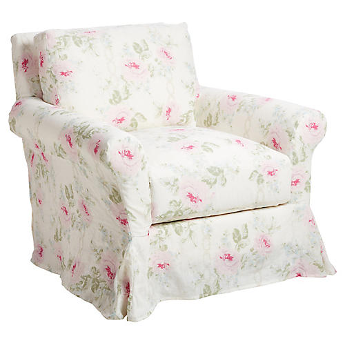 Sterling Club Chair, Bouquet Linen