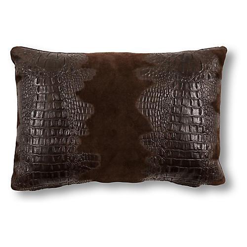Croc 12x18 Lumbar Pillow, Brown Suede