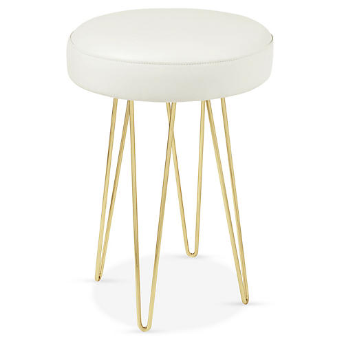 Hairpin Counter Stool, Brass/White Leather