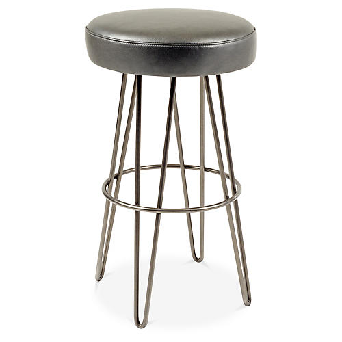 Hairpin Swivel Barstool, Pewter/Charcoal Leather
