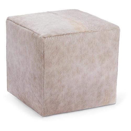 Cube Ottoman, Champagne Hide