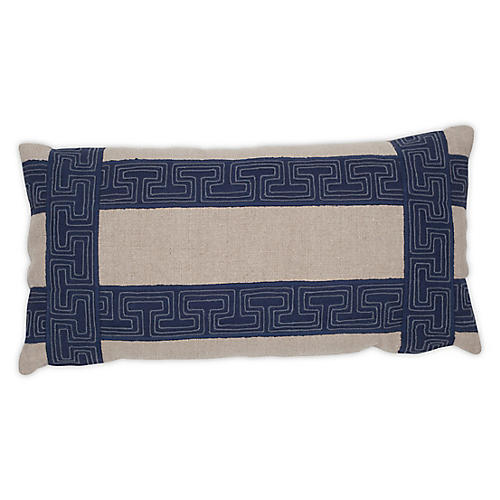 Rinee 12x24 Pillow, Flax/Denim Linen