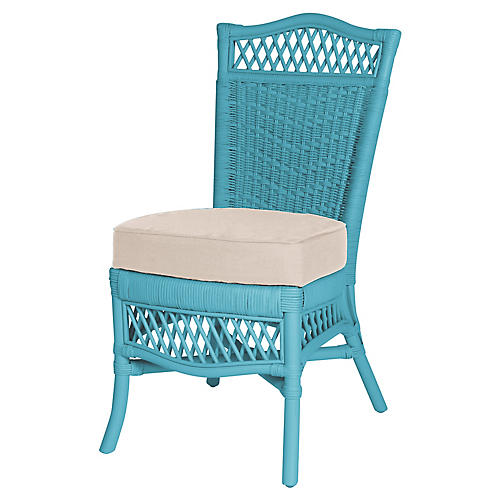 Plantation Side Chair, Blue/Beige