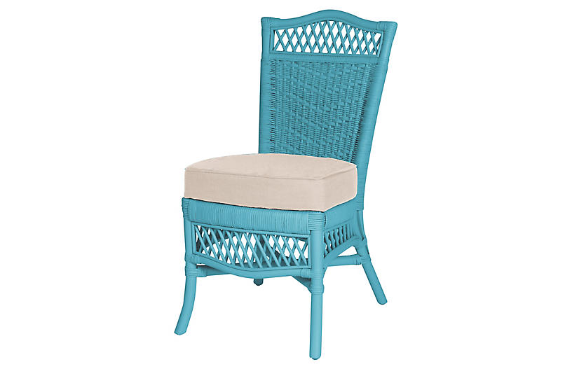 Plantation Side Chair, Blue/Beige