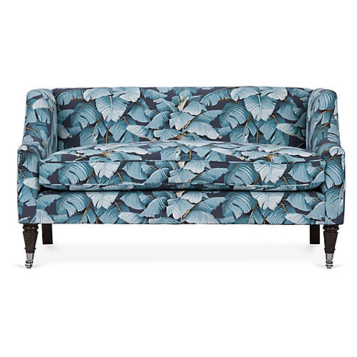 Gage Settee, Blue Palm