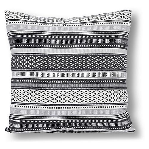 Boho 22x22 Outdoor Pillow, Black/White