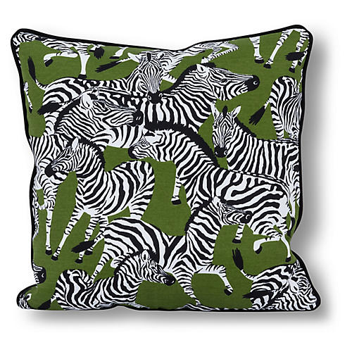 Zebra 20x20 Outdoor Pillow, Olive/Multi