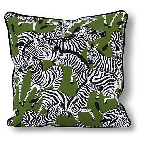 Zebra 20x20 Outdoor Pillow, Olive/Multi