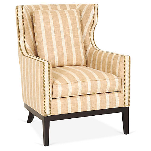 Roswell Wingback Chair, Wheat Stripe