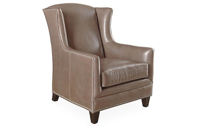 Lena Wingback Chair, Cedar Leather